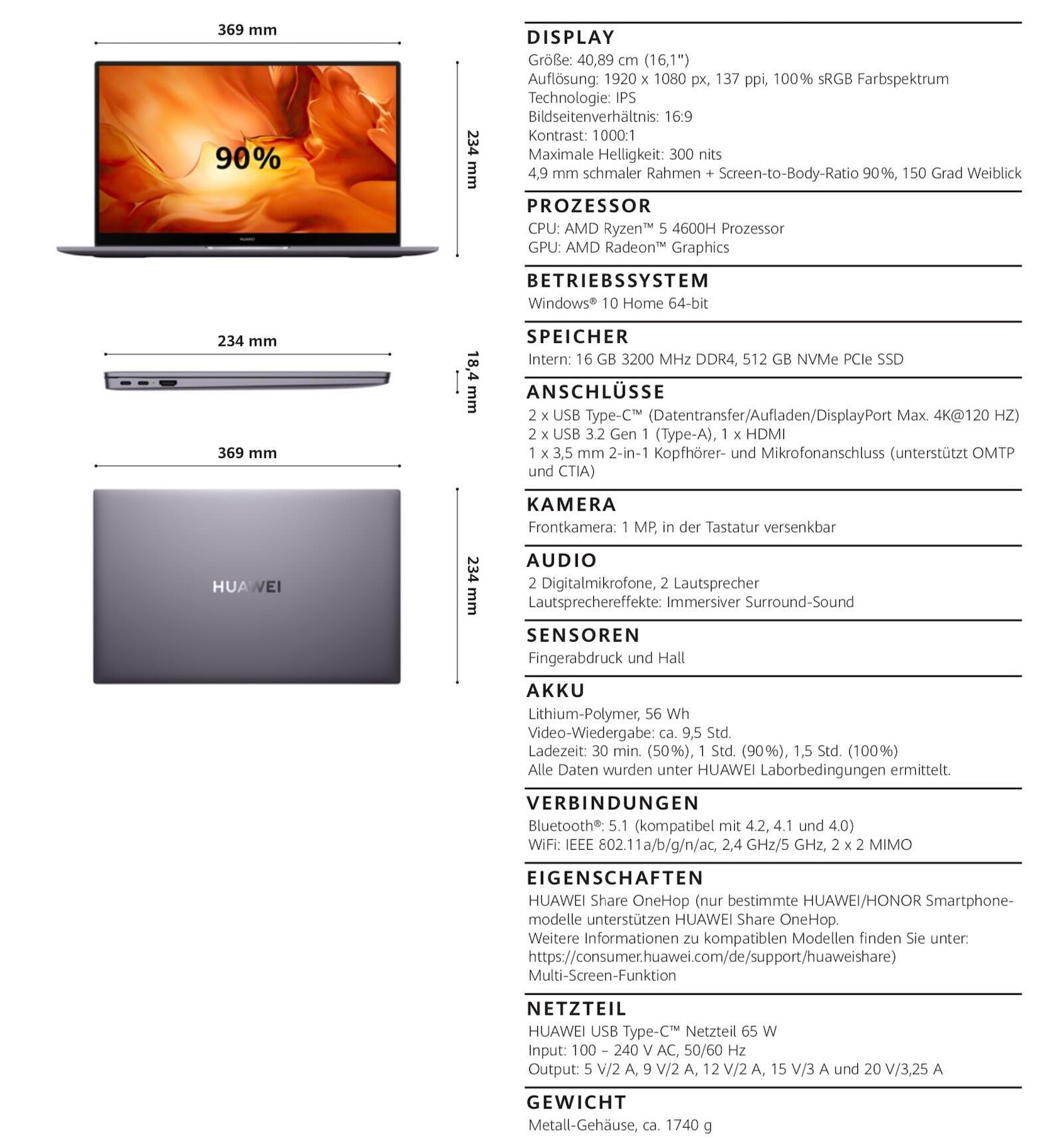 Huawei Matebook D14 Specs