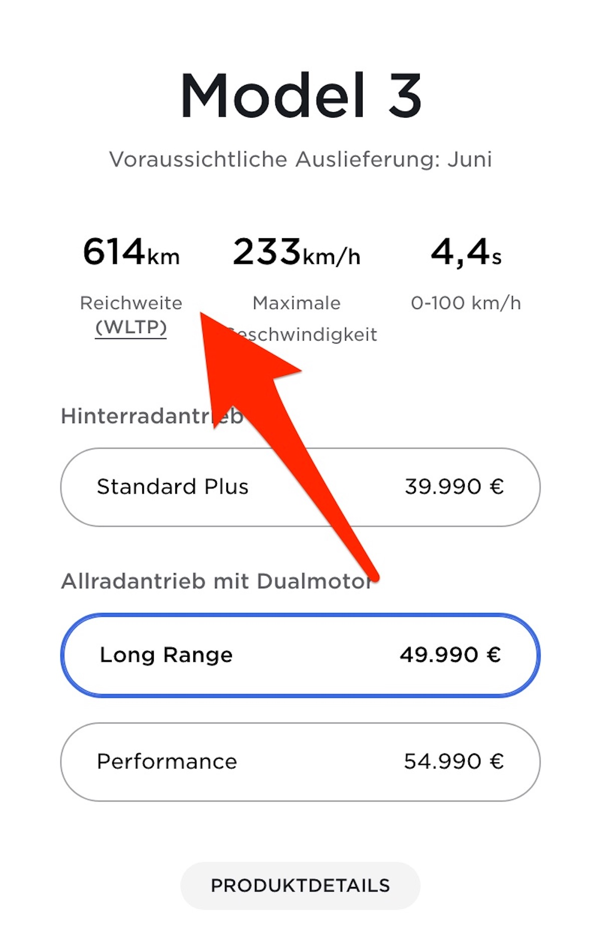 Tesla Model 3 614 Km