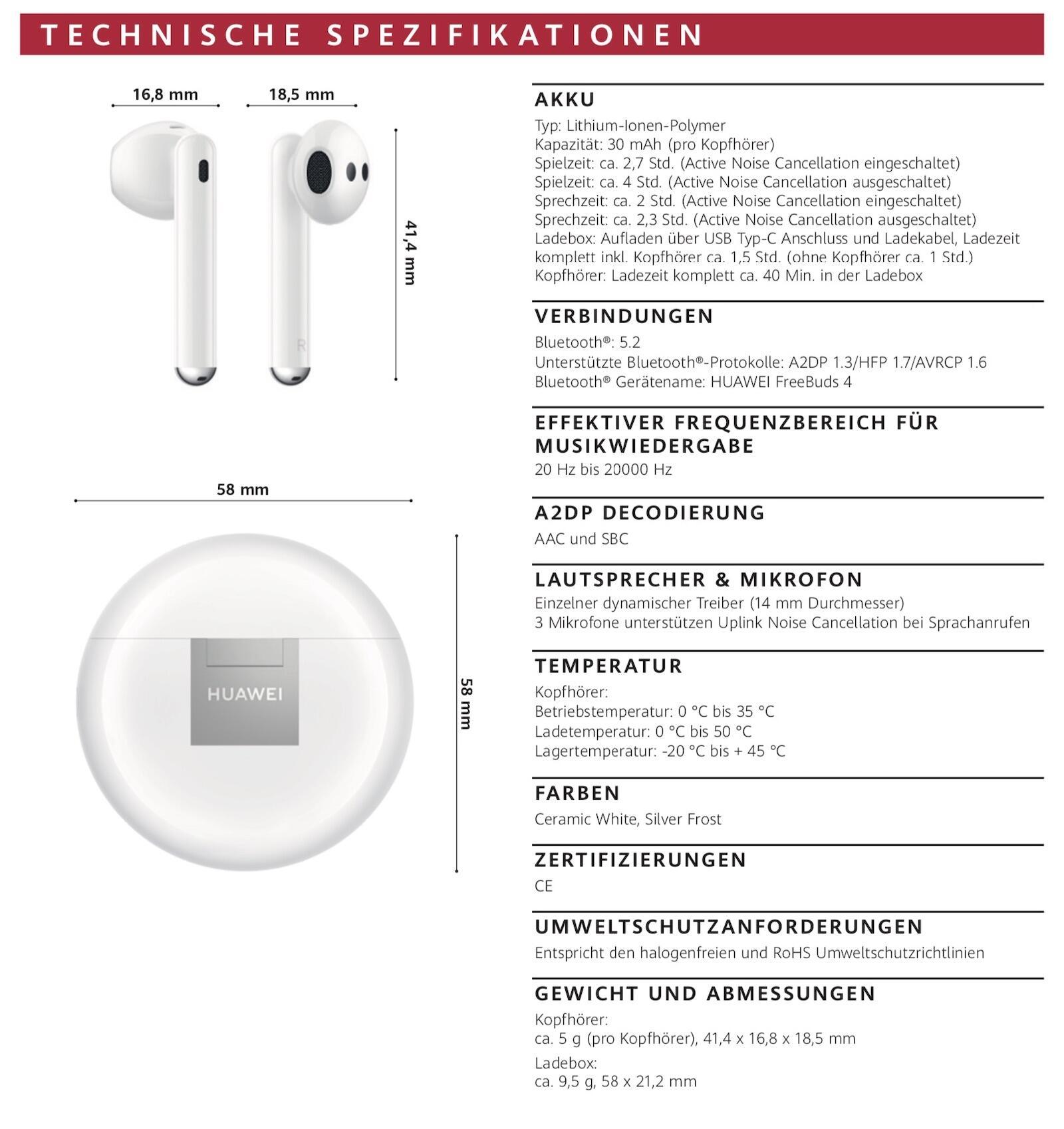 Huawei Freebuds 4 Specs