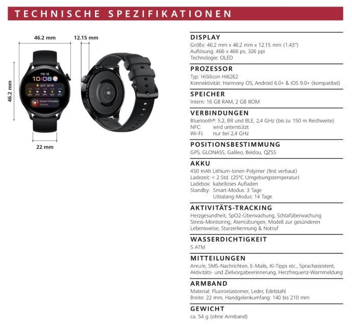 Huawei Watch 3 Specs