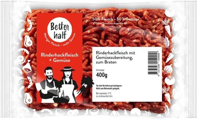 Better Half Rinderhackfleisch Mit 50 Prozent Gemuese In 400g Packung