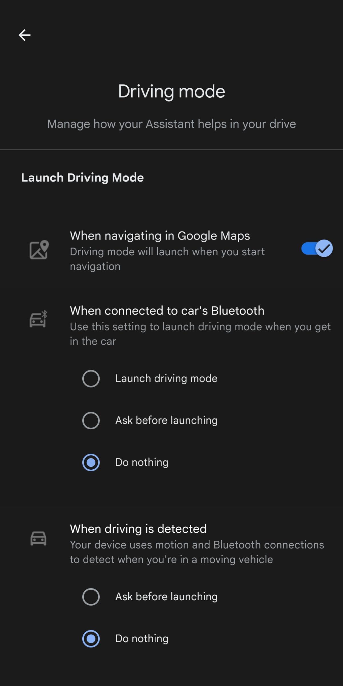 Driving Mode Bluetooth Start