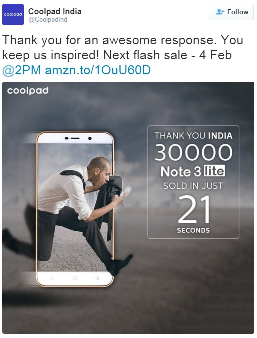 coolpad-note-3-lite-30000-units-sold-tweet