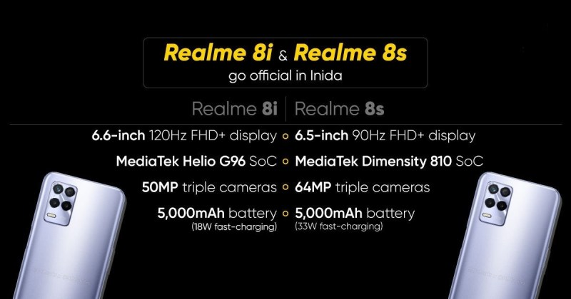 أهم الفروقات بين هاتفي Realme 8i و Realme 8s 5G