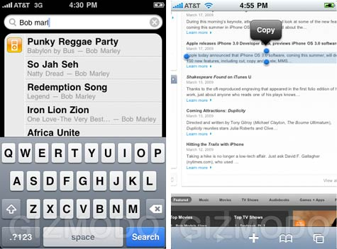 iPhone OS 3.0 kuvakaappaus