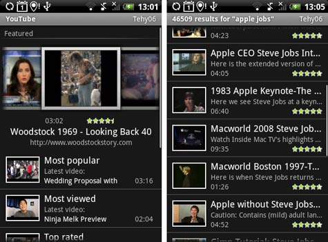 HTC Hero Sense YouTube