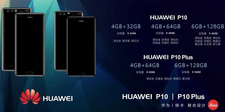Huawei P10, hinnat