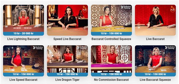 Det finns över 11 Baccarat-spel att njuta av på Leo Vegas Live Casino