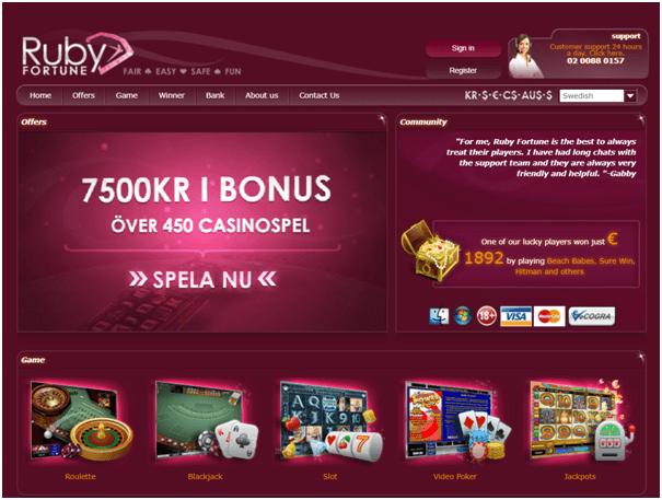 Ruby Fortune online casino för att spela över 450 slots