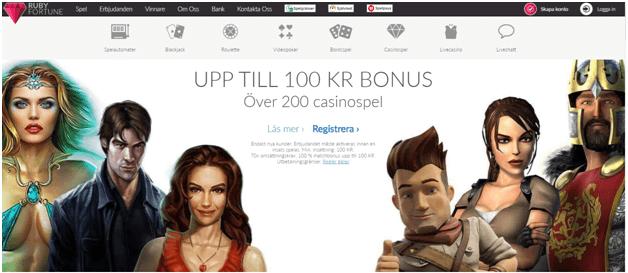 Ruby Fortune online casino för svenska spelare