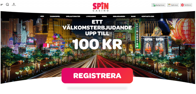 Spin Casino online med 100 Kr välkomstbonus