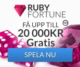 ruby fortune casino UPP TILL 20 000 KR BONUS