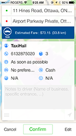 TaxiHail Booking Details Screen