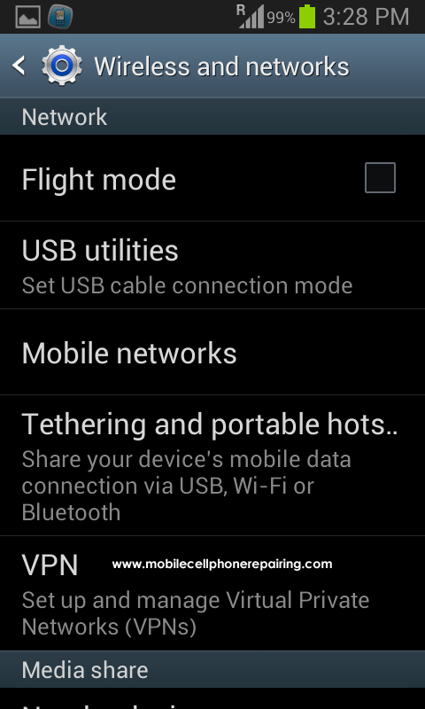 Android Portable Wifi Hotspot - Select Tethering and Portable Hotspot