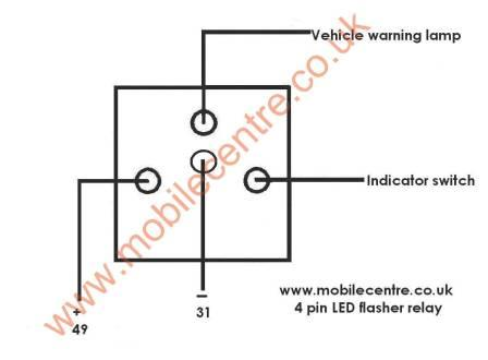 led indicator flasher relay 12 volt 4 pin 30w  mobile centre