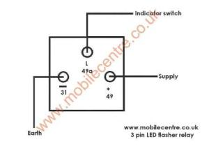 LED Indicator Flasher relay 12 volt 3 pin 30W JSO layout