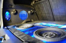 Closeup of Subwoofers in Custom Chevy HHR Install