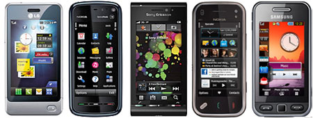Some of the latest handsets to feature resistive touch screens
