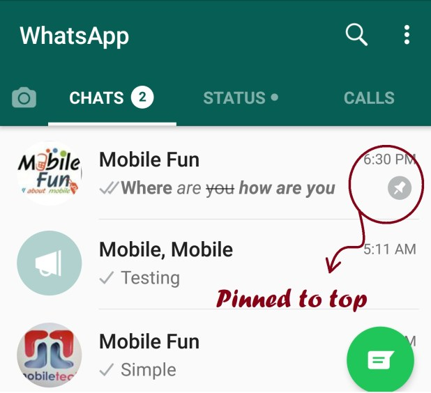 Msgs pinned to top