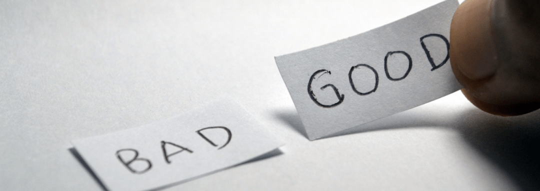 good and bad - words on paper