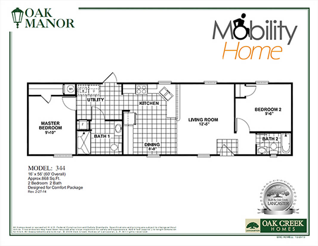 Oak Manor Mobility Home 344 floorplan