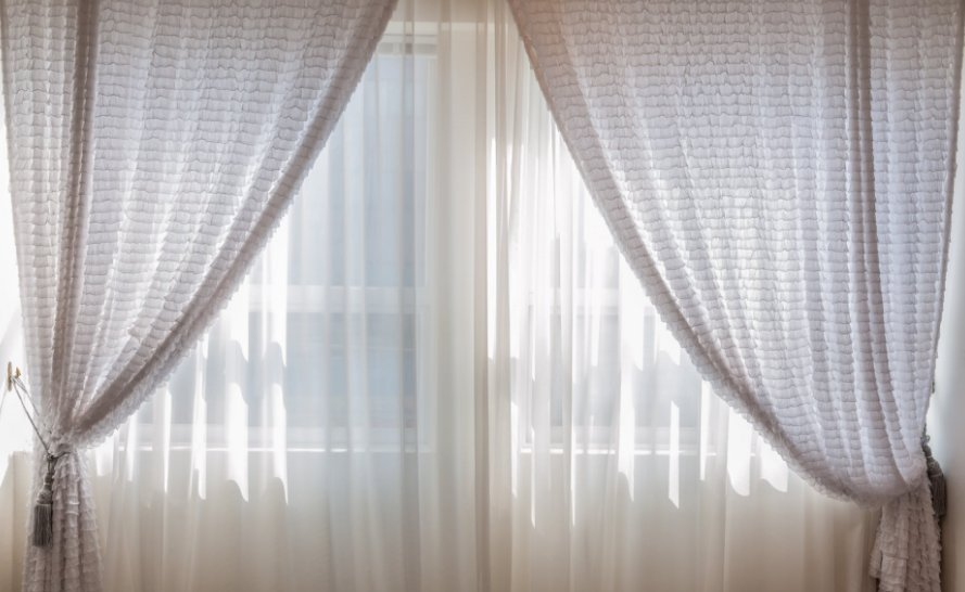 White curtains draped beautifully