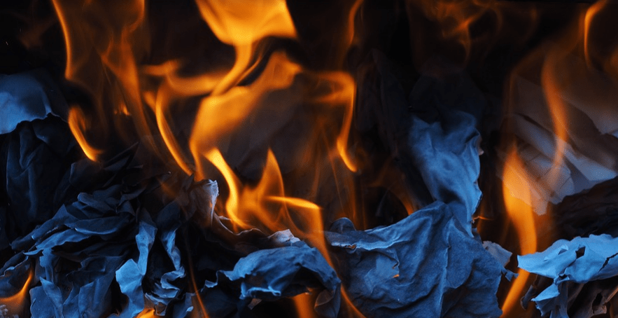 combustion flames from paper