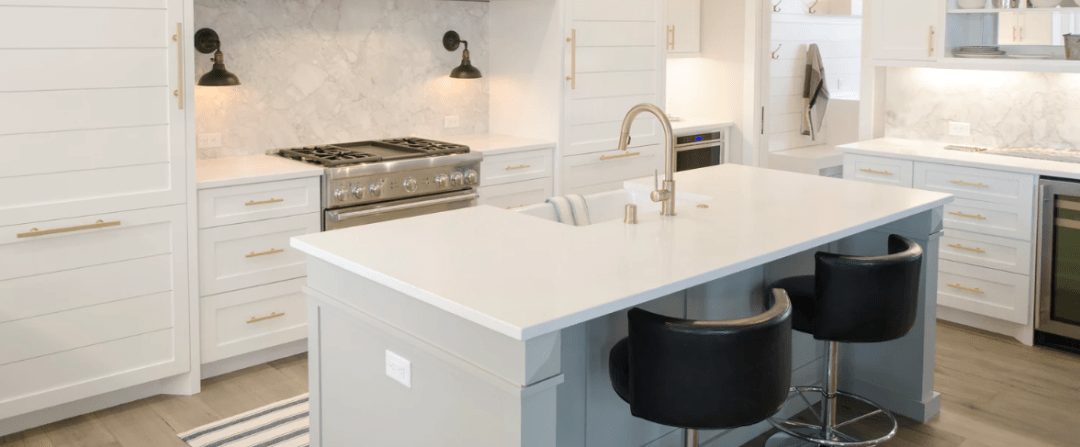 white barnyard style kitchen cabinets