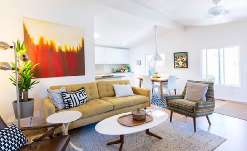 A remodeled mobile home living room