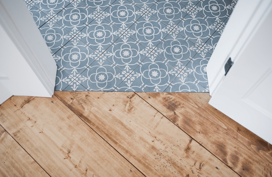 Mosaic tiles and wood planks for flooring