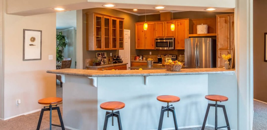 Mobile home kitchen view