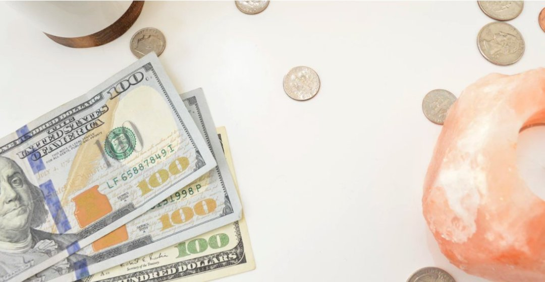 Money and coins on flat surface