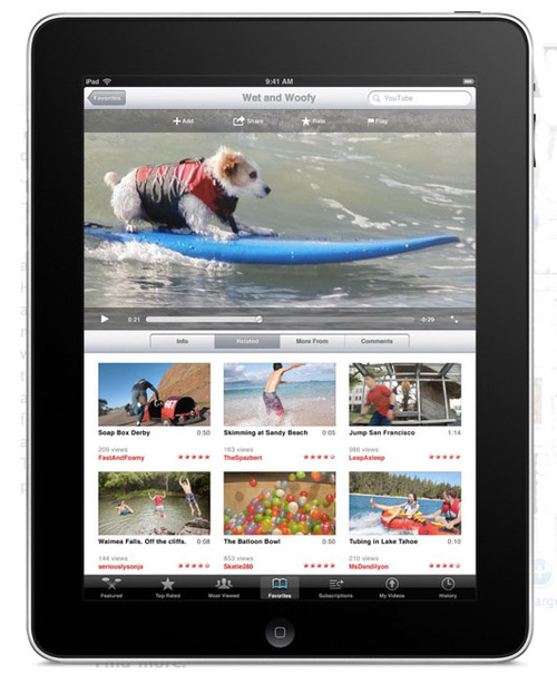 Apple iPad displaying flash-friendly YouTube - Photo: Gizmodo