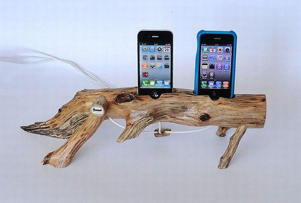 wooden stump iPhone charger