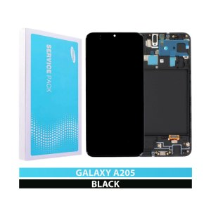 Galaxy A20 A205 Service Pack LCD Display Replacement Black