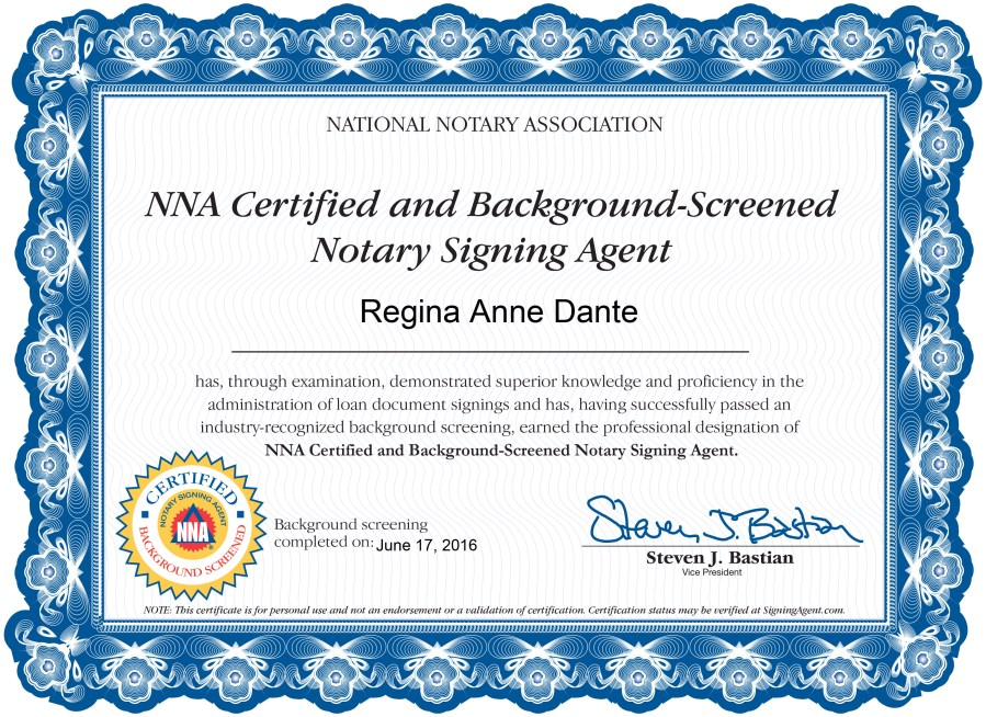Nsa Certificate Of Completion Broward Mobile Notary