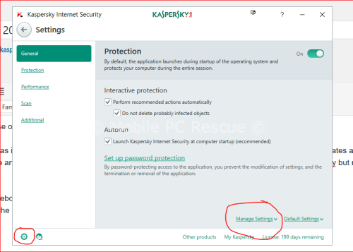 Kaspersky Internet Security Settings from Mobile PC Rescue