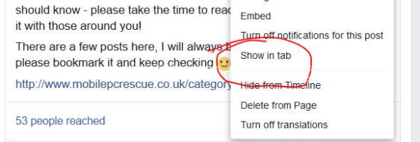"""Facebook """"View in Tab"""""""