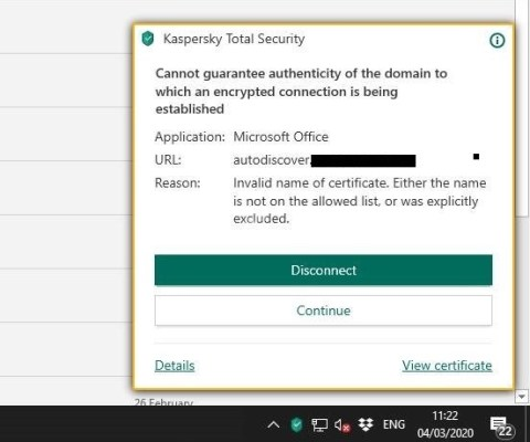 Kaspersky Certificate errors online and Outlook