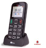 TTfone Mercury 2 (TT200) Pay As You Go – Prepay – PAYG – Big Button Basic Senior Mobile Phone – Simple – with Dock (Vodafone with £10 Credit, Black)