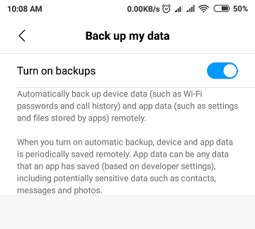 How to Back Up Data of Redmi Note 6 Pro - Google and Mi Backups