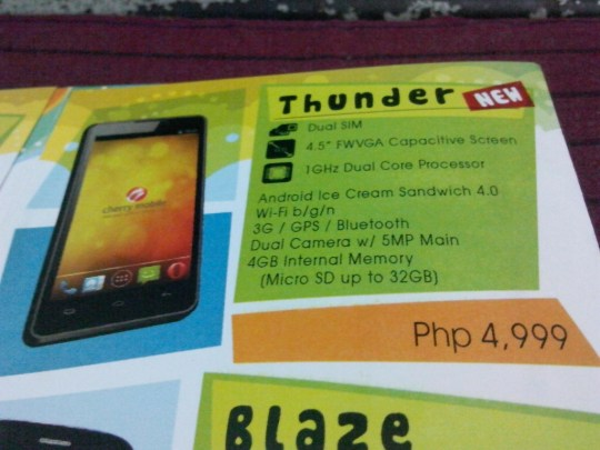 Cherry Mobile Thunder Leaked Flyer Shot