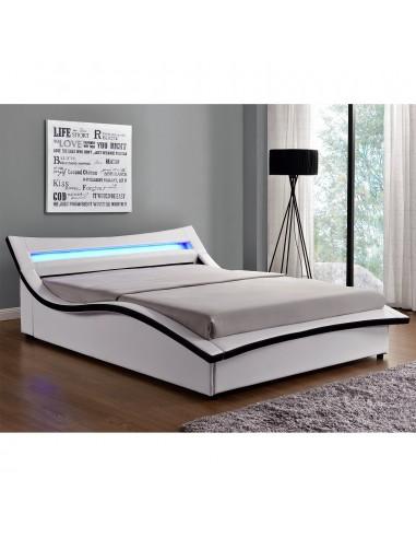 lit aude simili cuir blanc avec led 140 x 190
