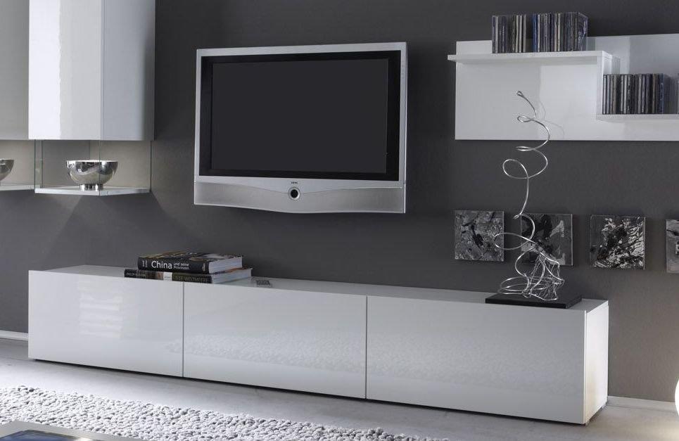 Meuble Tv Bas Laque Noir