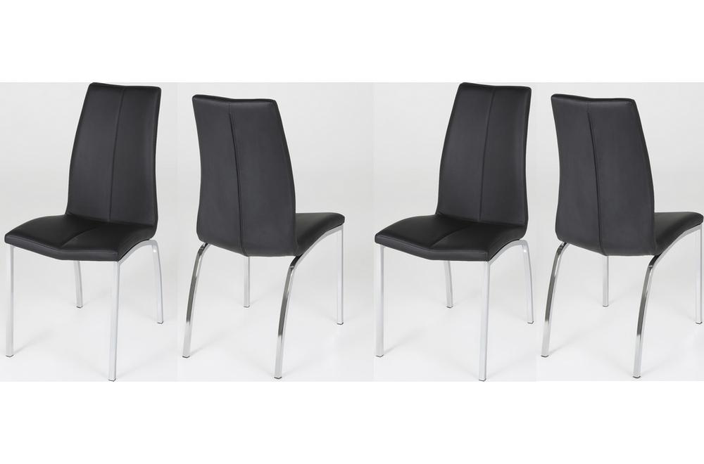 lot de 4 chaises astria en cuir artificiel noir