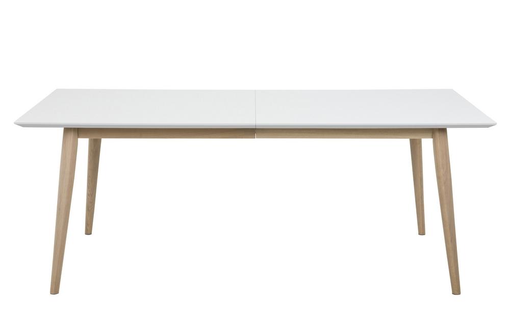 table a manger cenza bois plateau blanc laque