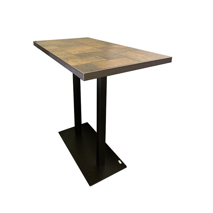 pied de table haute mange debout rectangulaire f58 en fonte noir ultra plat hauteur 107 cm