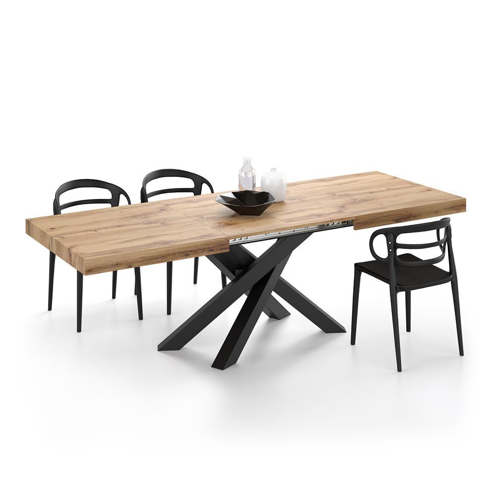 table extensible emma avec pieds noirs croises bois rustique