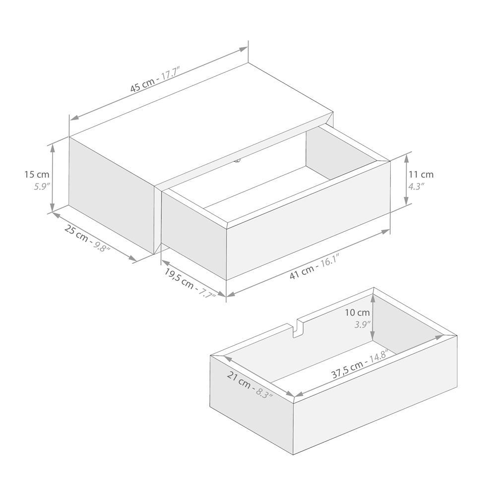 table de chevet suspendue riccardo gris beton