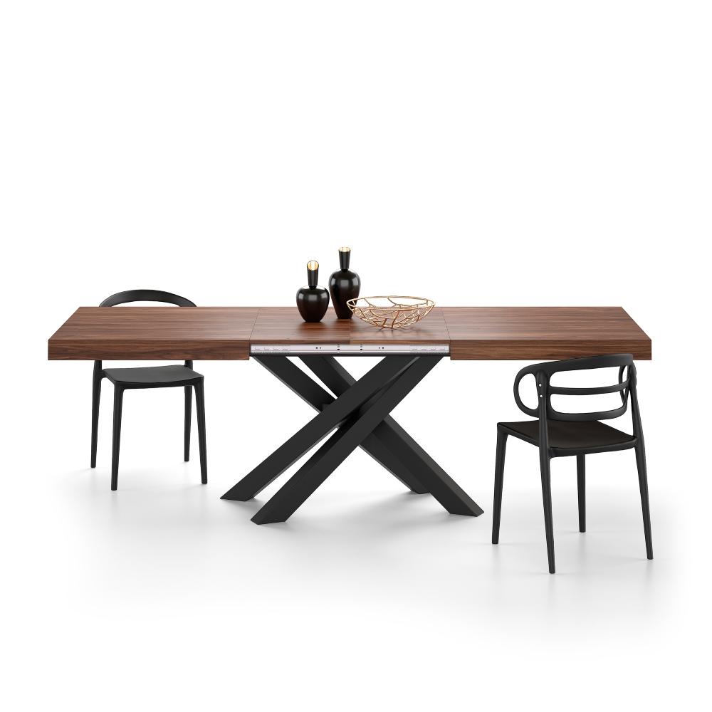 table extensible emma avec pieds noirs croises noyer